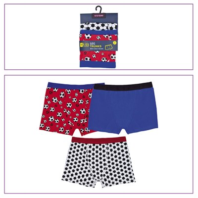 BOYS 3 PACK TRUNKS WITH FOOTBALL DESIGN