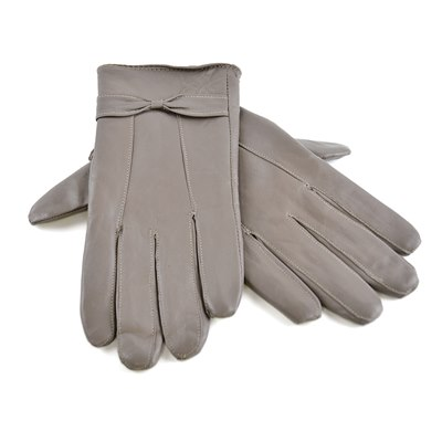 LADIES GREY LEATHER GLOVE