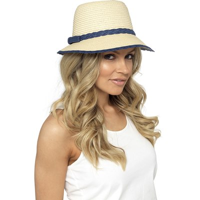 LADIES HAT WITH NAVY TRIM