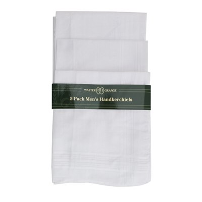 MENS 5 PACK WHITE HANKIES