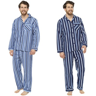 MENS PRINTED FLANNEL TRADITIONAL STRIPE PYJAMA SET
