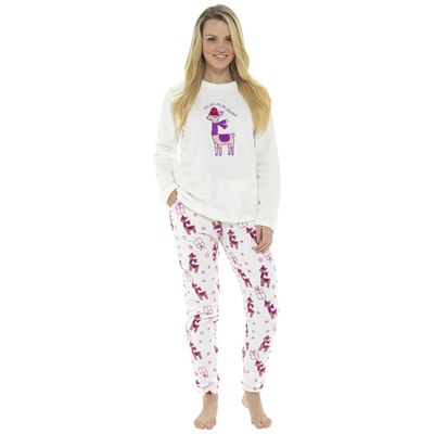 LADIES LLAMA FLEECE PYJAMA SET
