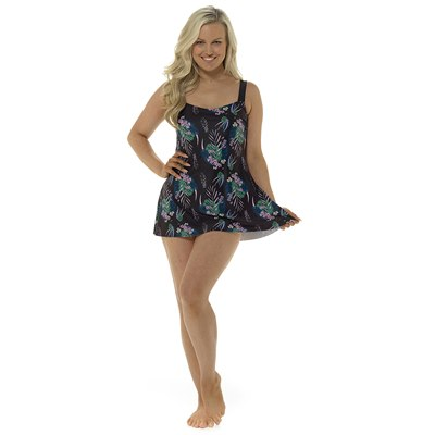 LADIES TROPICAL PRINT SWIMDRESS