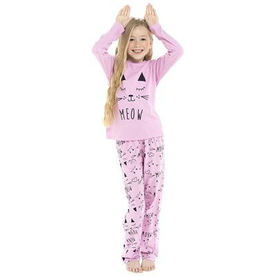 KIDS CAT PRINTED JERSEY PYJAMA SET