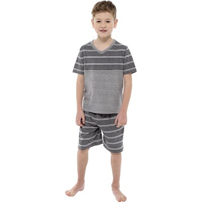 BOYS JERSEY STRIPED PANEL TOP & SHORTS PYJAMA SET