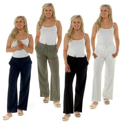 LADIES RIBBED BACK COLOURED LINEN TROUSERS