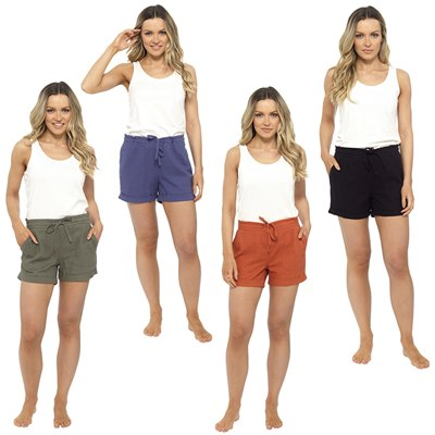 LADIES RIB BACK LINEN SHORTIE SHORT
