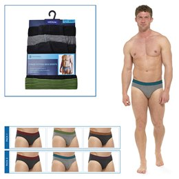 BR194A MENS 3 PACK BRIEFS WITH STRIPED WAISTBAND