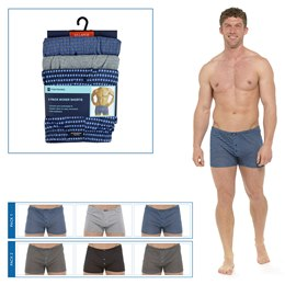 BR196 MENS 3 PACK PATTERNED JERSEY BOXER SHORT