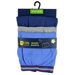 BR207 BOYS 3 PACK KNITTED BOXER SHORTS