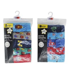 BR209A BOYS 100% COTTON 5 PACK BRIEFS IN POLYBAG