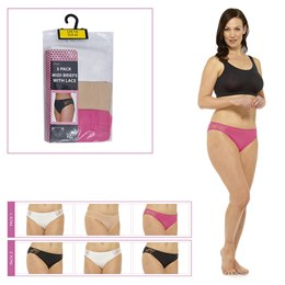 BR319 LADIES 3 PACK BRIEFS WITH LACE