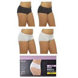 BR353 LADIES 2 PACK BOXED MIDI BRIEFS