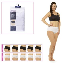 BR356 LADIES 5 PACK FULL BRIEFS IN POLYBAG