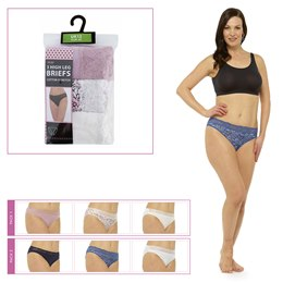 BR368 LADIES 3 PACK BRIEFS WITH LACE