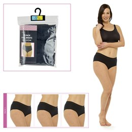 BR714 LADIES 3 PACK FULL BRIEFS IN POLYBAG  BLACK