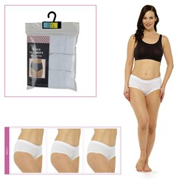 BR715 LADIES 3 PACK FULL BRIEFS IN POLYBAG  WHITE