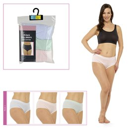 BR716 LADIES 3 PACK FULL BRIEFS IN POLYBAG  PASTELS