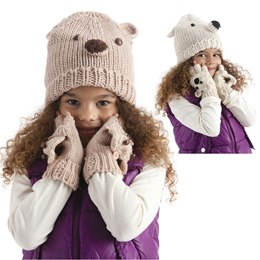 GL066 GIRLS HAT WITH BEAR FACE