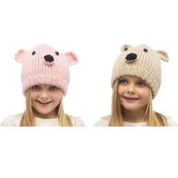 GL066A GIRLS HAT WITH BEAR FACE