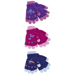 GL106 GIRLS THERMAL 2 IN 1 MAGIC GLOVE WITH RUBBER PRINT