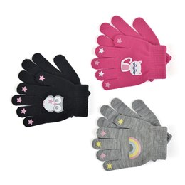 GL108 GIRLS THERMAL MAGIC GLOVE WITH RUBBER PRINT