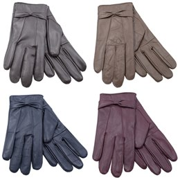 GL147A LADIES COLOURED LEATHER GLOVE WITH BOW