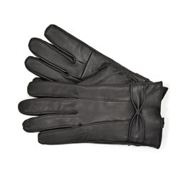 GL147BK LADIES BLACK LEATHER GLOVE WITH BOW
