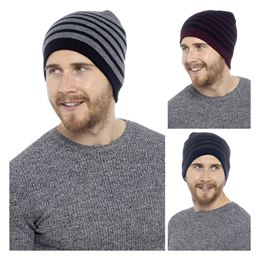 GL224 MENS STRIPED BEANIE HAT