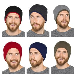 GL226 MENS REVERSIBLE BEANIE HAT