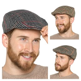 GL228 MENS CHECKED FLAT CAP