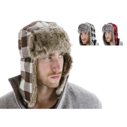 GL331 MENS CHECKED TRAPPER HAT WITH FUR TRIM