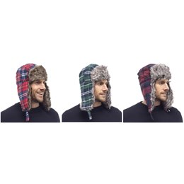 GL331A MENS CHECKED TRAPPER HAT WITH FUR TRIM