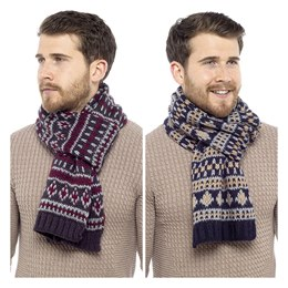 GL380A MEN'S BRUSHED ACRYLIC FAIRISLE SCARF