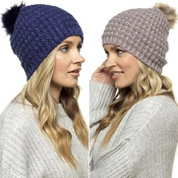 GL520 LADIES BEANIE HAT WITH FUR POM POM