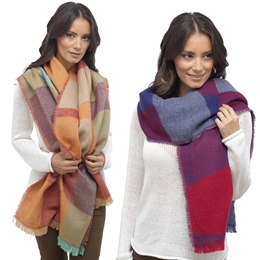 GL532 LADIES BRIGHT COLOURED BLANKET SCARF