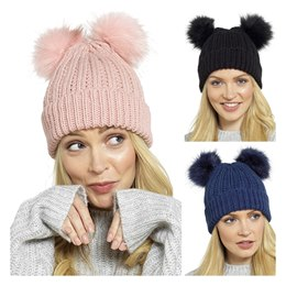 GL542A LADIES CHUNKY HAT WITH 2 FUR BOBBLES