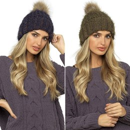 GL546 LADIES CHUNKY HAT WITH FUR BOBBLE