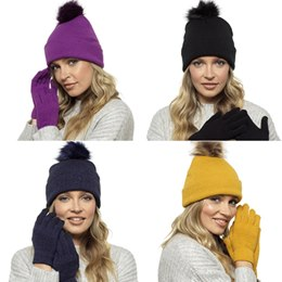 GL550 LADIES BOBBLE HAT & TOUCHSCREEN GLOVE SET