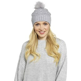 GL572A LADIES BOBBLE HAT WITH EMBELLISHMENT