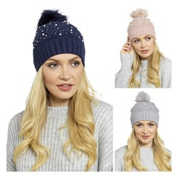 GL572B LADIES BOBBLE HAT WITH EMBELLISHMENT