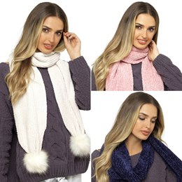GL578 LADIES CHENILLE SCARF WITH FUR BOBBLE