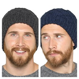 GL615 MENS CABLE KNIT BEANIE HAT
