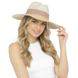 GL698 LADIES WIDE BRIM CONTRAST FEDORA HAT