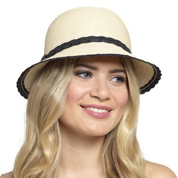 GL701 LADIES HAT WITH BLACK TRIM