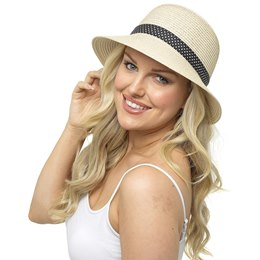 GL704 LADIES HAT WITH POLKA DOT RIBBON