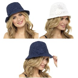 GL708 LADIES STRAW HAT WITH FLOWER