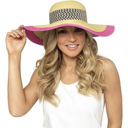 GL715 LADIES FLOPPY HAT WITH PINK TRIM
