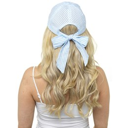GL720 LADIES STRIPED CAP WITH BOW AT BACK