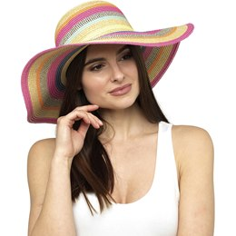 GL736 LADIES BRIGHT COLOURED STRIPED SUMMER HAT